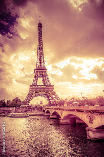 Sunset view of Eiffel Tower in Paris Poster
