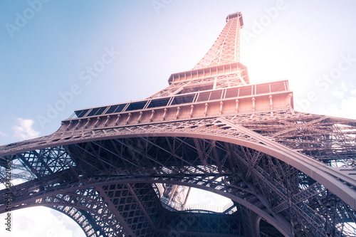 Vintage style image of Eiffel Tower in Paris France with Retro filter effect Poster
