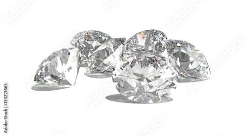 Diamenty samodzielnie na biały model 3d