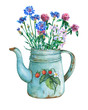 Leinwanddruck Bild - Vintage blue metal teapot with strawberries pattern and bouquet of wild flowers. Hand drawn watercolor painting on white background.