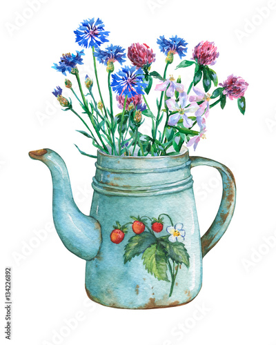 Leinwanddruck Bild Vintage blue metal teapot with strawberries pattern and bouquet of wild flowers. Hand drawn watercolor painting on white background.