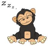 animal, cartoon, illustration, primate, monkey, chimpanzee, zoo, black, beige, sit, sleep, letters, z