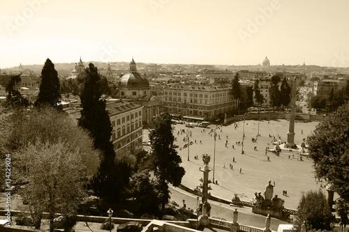 Poster Rome,Italy,Piazza del Popolo,sepia.