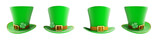 Set St. Patricks day green hat 3D illustration on a white background