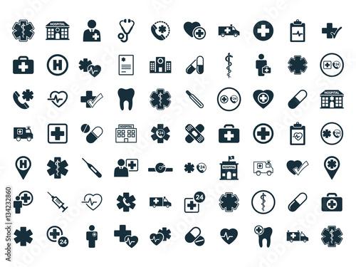 medical icons set on white background