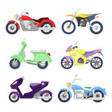 Fototapety Motorcycles Icons Set with Retro, Sport Bike and Scooter. Vector illustration