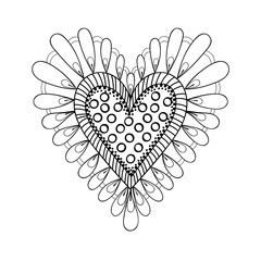 Floral doodles heart in zentangle ornamental style. Vector frame