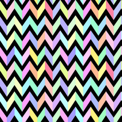 chevron pastel colorful pattern on black background seamless vec