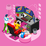Video Game Screen Icon Isometric Person Vector Illustration