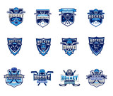 Vector set of ice hockey badges, stickers, emblems