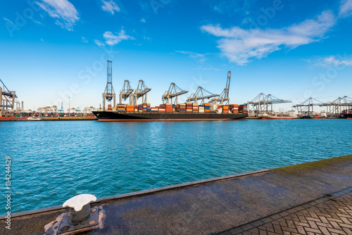 Container Terminal in Harbour of Rotterdam, Netherlands.