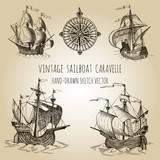 Old caravel, vintage sailboat.  Rose of Wind. Hand drawn vector sketch. - 134245864