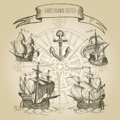 Old caravel, vintage sailboat.  Rose of Wind. Hand drawn vector sketch.