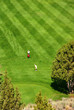 Golfers on bright green fairway