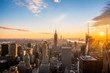 New York City Skyline, at sunset view from Rockefeller Center, United States