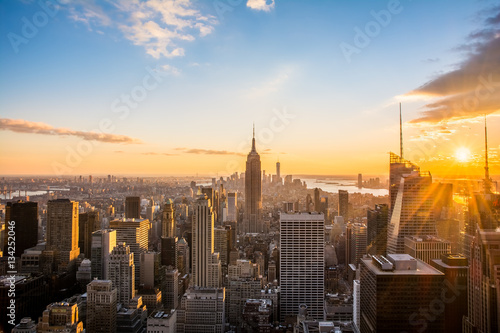 Poster New York City Skyline, at sunset view from Rockefeller Center, United States