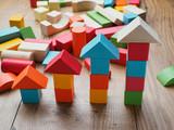 increasing arrow made by building blocks - 134258434