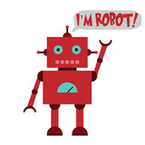 Vector illustration of a toy Robot and text IM ROBOT!