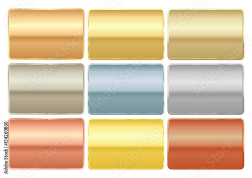Vector set of rectangular chips of different metals gold platinu