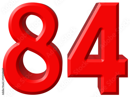 Poster Numeral 84, eighty four, isolated on white background, 3d render