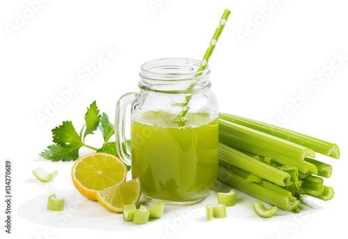 Jar mug of celery juice.