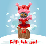 Valentine Day card of cute owl bird with heart