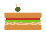 Sandwich with meat, lettuce and tomatoes flat color vector icon for food apps and websites