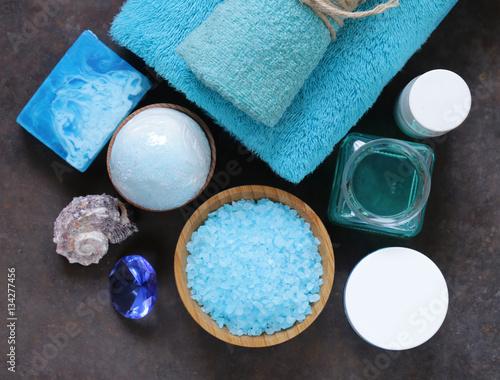 Foto op Canvas Spa Spa concept turquoise - soap, salt, cream, towel