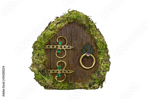 Foto op Aluminium Betoverde Bos Fairy door with moss on isolated background/Fairy door with moss, wood, brass ornaments and jewels