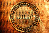 notary, 3D rendering, grunge metal stamp