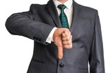 Businessman showing gesture with thumb down