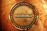 hormones, 3D rendering, grunge metal stamp