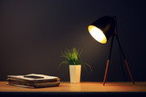 Office work desk and lamp