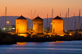 Windmills in the port of Rhodes, Greece