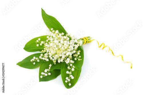 Staande foto Lelietje van dalen Bouquet of white lily of the valley .