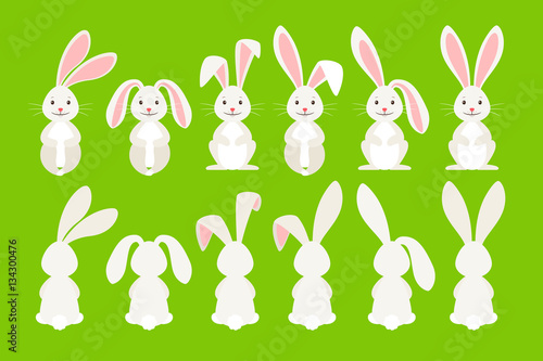 Cute ostern rabbit vector illustration. Easter cartoon bunny isolated on green background