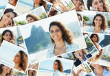 Collage of a laughing latin woman at Rio de Janeiro