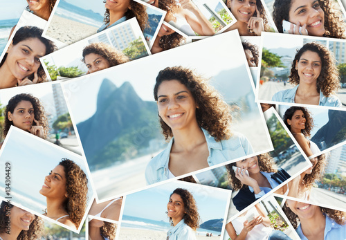 Poster Collage of a laughing latin woman at Rio de Janeiro