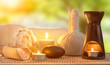 Quadro spa burning candles and zen stone