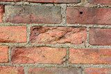 Wall with bricks damaged by the weather