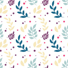 Elegant floral seamless pattern with plants, leaves, dots