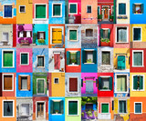 Picturesque windows with shutters on the famous island Burano, V - 134307217