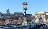 Budapest. Széchenyi Chain bridge and National gallery