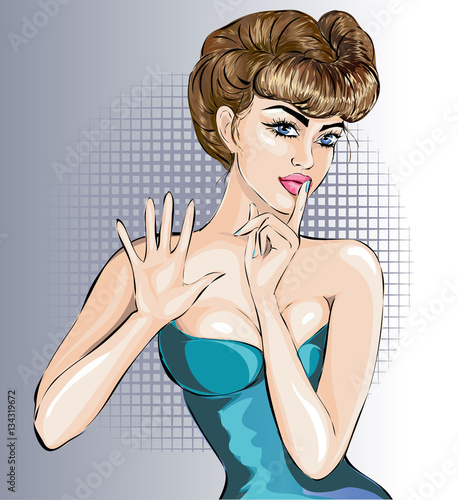 Fotobehang Pop Art Pin up sexy woman portrait with stop hand signal and silence sign by finger, vector illustration
