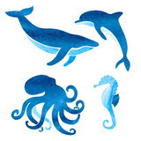 Watercolor sea animals set. Vector nautical illustration of whale, dolphin, octopus, seahorse