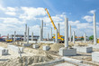 Concrete pillars of new edifice with a beautiful sky are placed