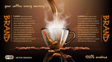 Realistic splash flowing coffee Mockup template for branding, advertise and product designs. Fresh steaming hot drink in a glass transparent cup  Roasted beans