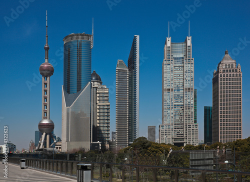 Poster Shanghai modern city landmark office backgrounds