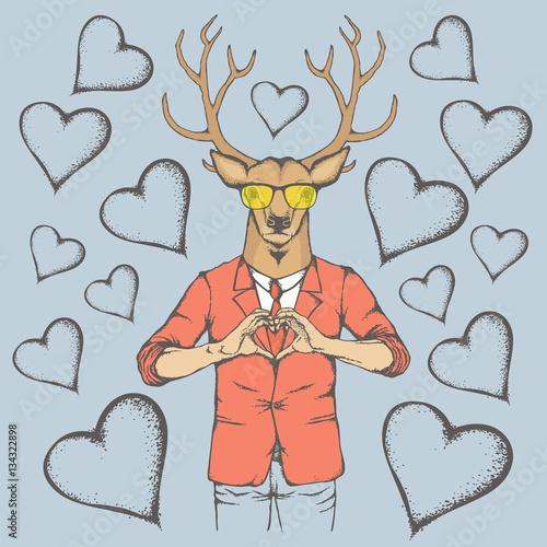 Fotobehang Hipster Hert Deer Valentine day vector concept