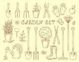 Fototapety garden tools set